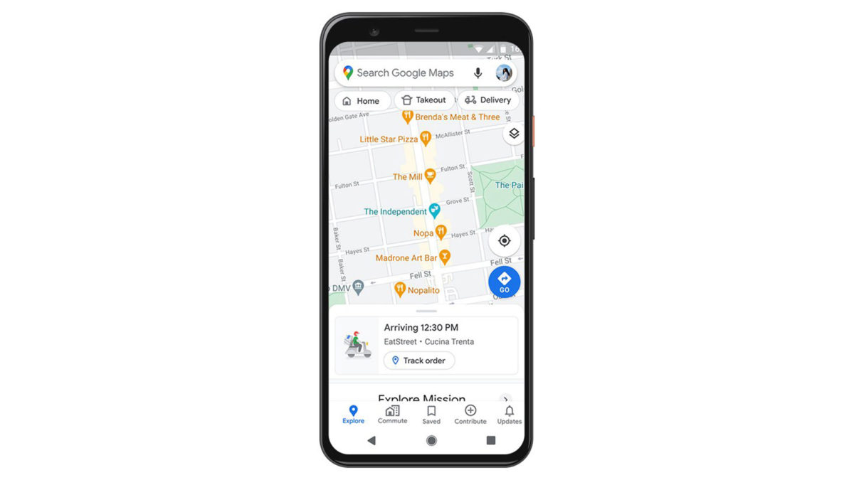 google maps food delivery tracking