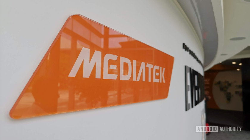 The MediaTek logo at the company's Hsinchu HQ.