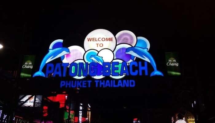 At night in patong beach market