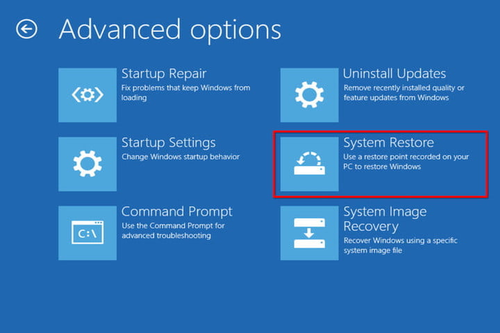 Advanced Options System Restore