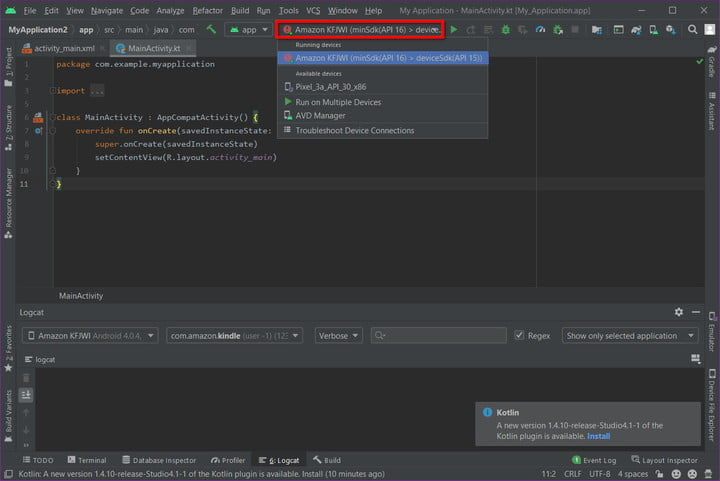Android Studio Show Kindle Fire