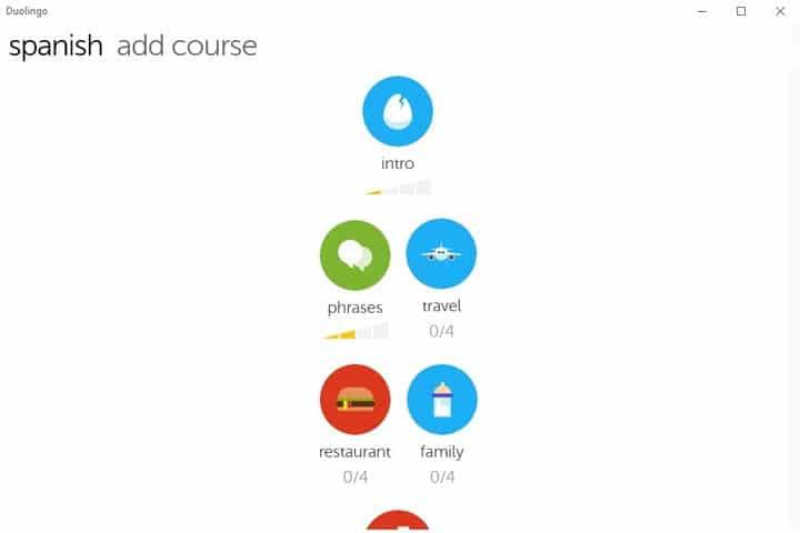 Capture d'écran de l'application Duolingo Windows 10