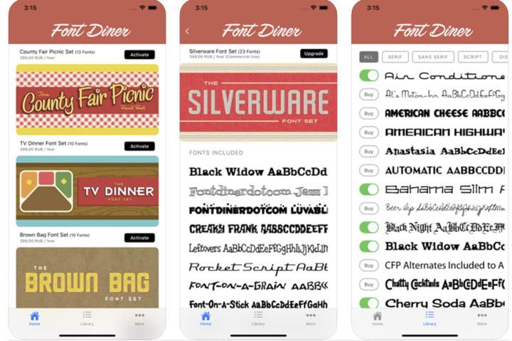 Font Diner iOS 13 font app