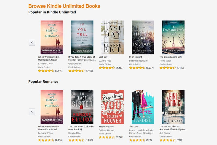 Picture of Kindle Unlimited books catalog
