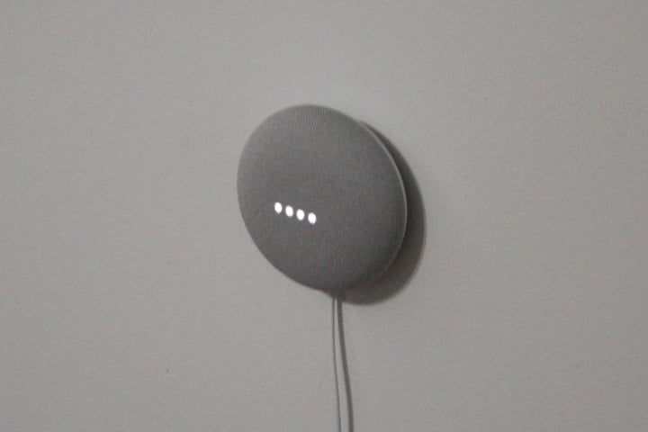 Google Nest Mini on wall