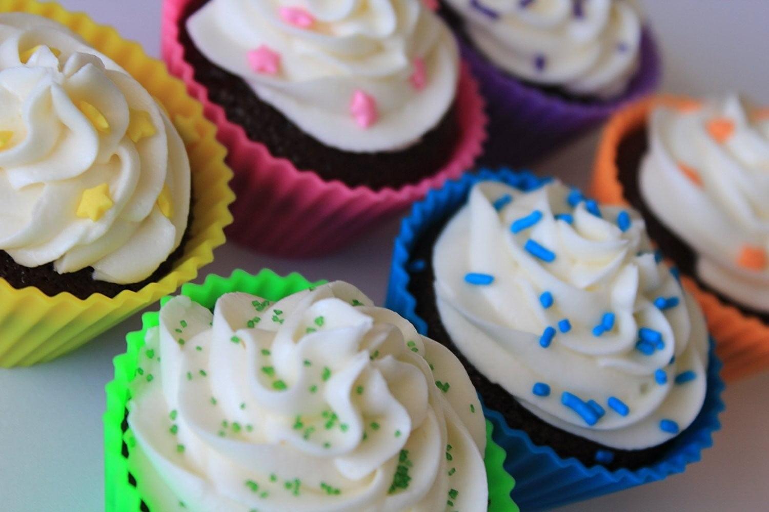 pantry-items-silicone-cupcake-liners-baking-molds-with cupcakes in them