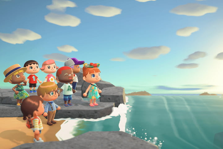 A garthering of friends in Animal Crossing: New Horizons