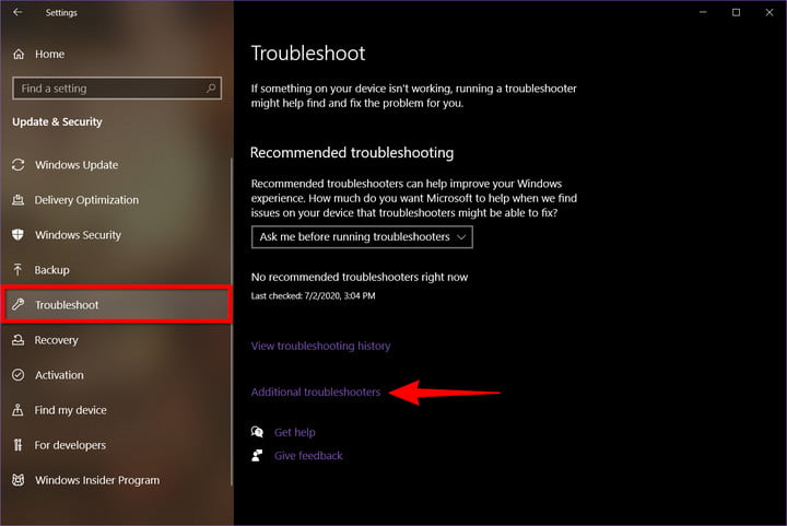 Windows 10 Additional Troubleshooters