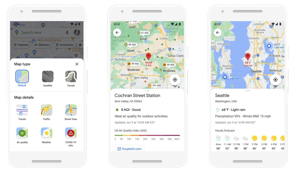 Google Maps air quality information