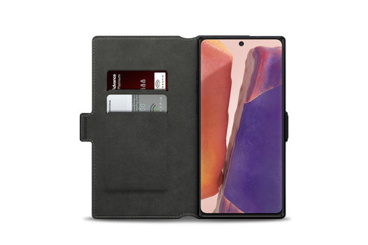 Photo shows the inside view of a black Olixar genuine leather wallet holding bank cards and a Samsung Galaxy Note 20 phone