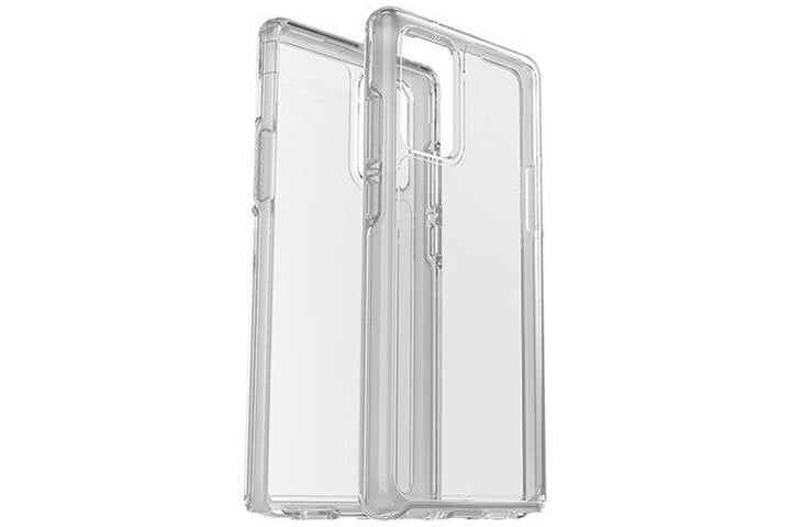 Photo shows the front and back view of a clear case for the Samsung Galaxy Note 20 from OtterBox