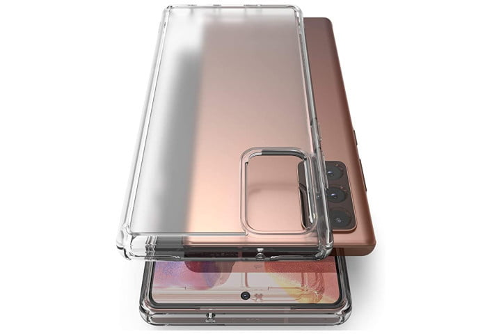 Photo shows the Samsung Galaxy Note 20 in Mystic Bronze with a clear Fusion case from Ringke