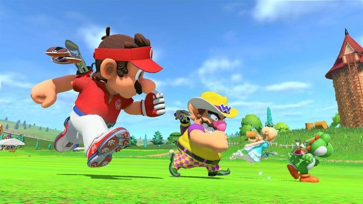 Mario, Wario, and Rosalina run in Mario Golf: Super Rush.
