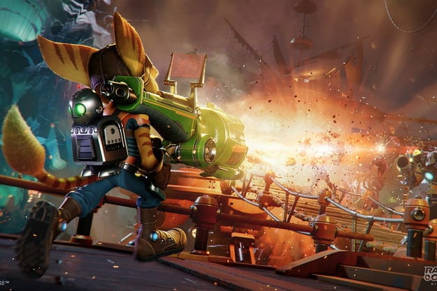 Ratchet fires a huge weapon in Ratchet & Clank Rift Apart.