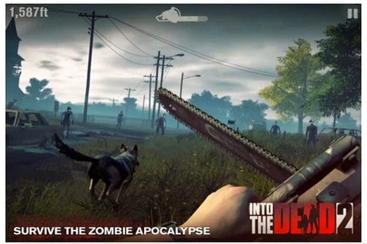 Screenshot of first-person action with a gun and zombies in Into the Dead 2