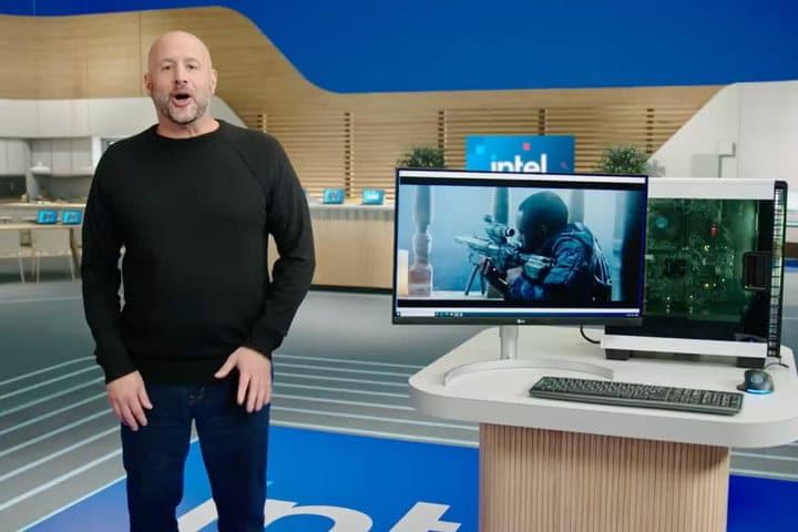 Former Intel CEO Bob Swan at a presentation.