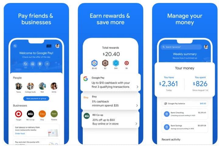 The new Google Pay app on iOS.