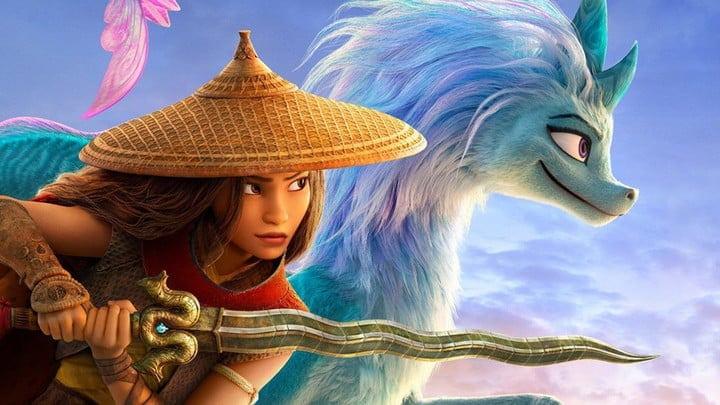 Raya wielding her sword in Raya and the Last Dragon.