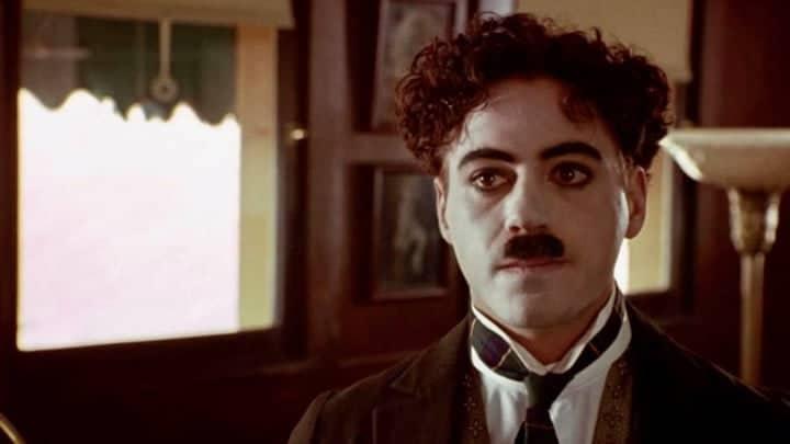 Robert Downey Jr. as Charlie Chaplin in Chaplin.