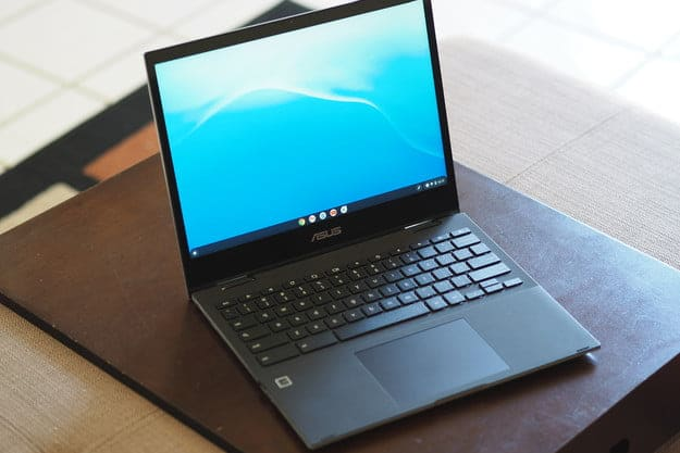 Asus Chromebook Flip CM3 sitting on table top.