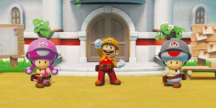 Mario and two toads in construction outfits.