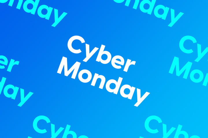 Best Cyber Monday Deals 2020 logos on blue backgroud.