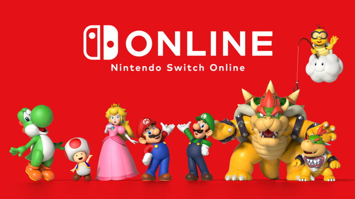 Mario and pals posing under the Nintendo Switch Online logo.