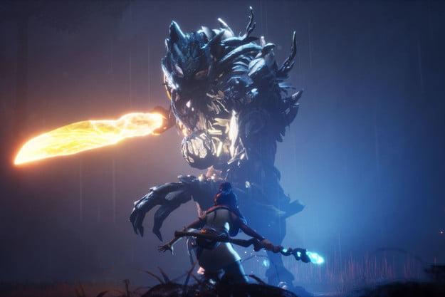 kena faces down a giant boss in Kena: Bridge of Spirits.