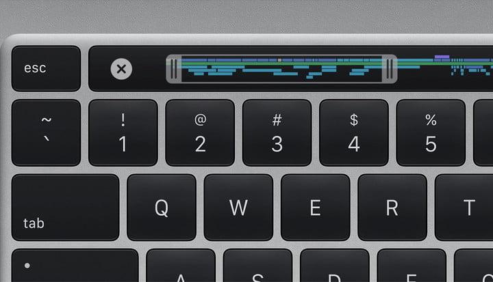 A closeup of the MacBook Pro keyboard highlighting the TouchBar.
