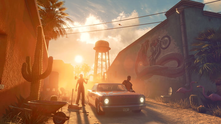 Two characters hanging out by a car in an alley at sunset.