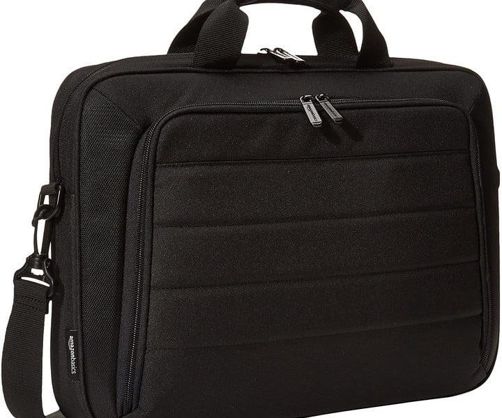 Amazon Basics laptop bag on a white background.