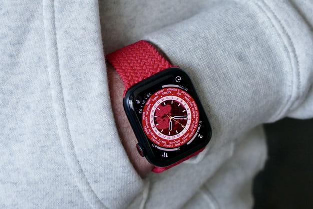 Apple Watch Series 7 in a pocket.