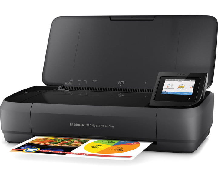 HP's OfficeJet 250 is the all-in-one printer for road warriors complete with scanning functionality.