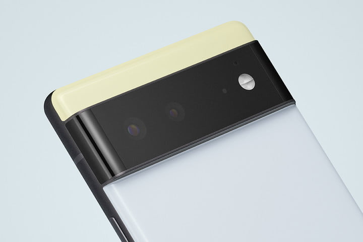 Google Pixel 6 in sorta seafoad color with focus on camera.
