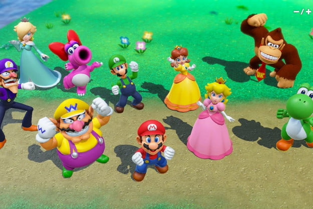 The full cast of characters in Mario Party Superstars stand together.